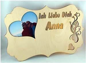 Cadre photo en bois anniversaire de mariage/fiançailles avec messages en allemand