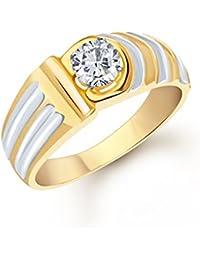 Vk Jewels Gracefull Gold Brass Alloy Cz American Diamond Ring for Men Vkfr1088G19