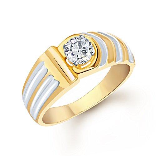 V. K. Jewels VK Jewels Gracefull Gold Brass Alloy CZ American Diamond Ring For Men VKFR1088G18
