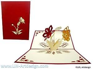 LIN - Biglietto tridimensionale pop-up di auguri o ringraziamenti, soggetto: fiori e farfalle, colore rosso