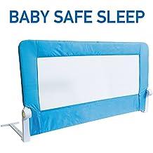 Tatkraft Guard Barandilla para Cama de Bebé Abatible Guardasueños Acero / Plástico / Poliester Azul 120X47X65 cm