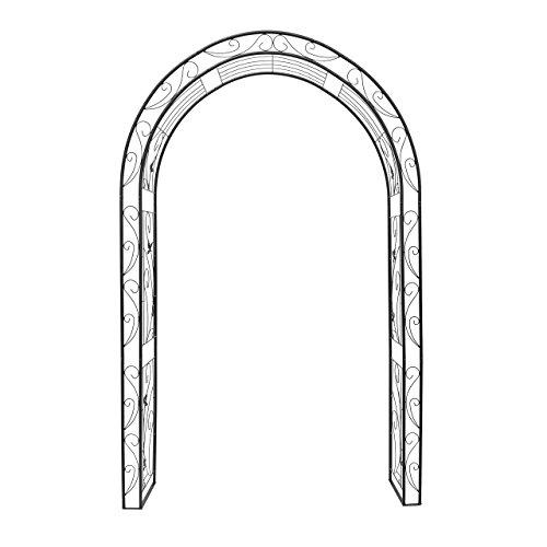 Relaxdays Rosenbogen Blatt mit Verzierung HBT 226 x 144 x 36,5 cm Rankhilfe und Torbogen als Kletterhilfe für Kletterrosen aus Eisen mit 6 Heringen stabiles Rankgitter und Rosenspalier, schwarz -