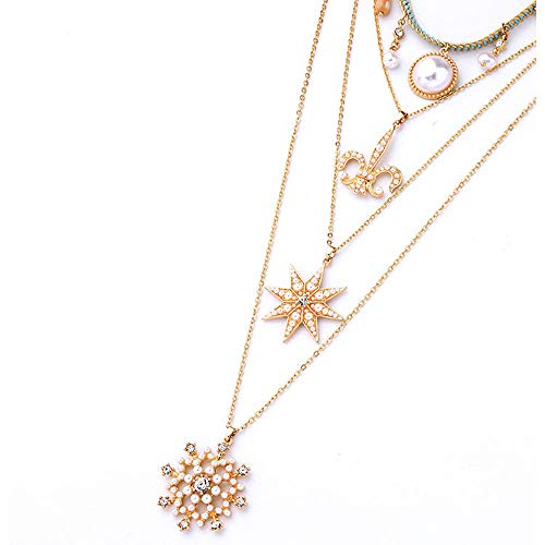 WY-EHSP Mehrschichtige Star Diamond Schneeflocke Perle anhänger