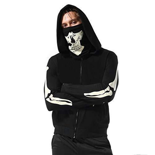 SANFASHION Herren Hooded Mens Mask Skull Sweatshirt Pure Color Pullover Langarm Kapuzenpulli Tops (Schwarz0716, L) -