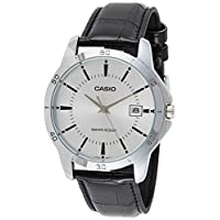 Casio Mtp-V004L-7A Watch For Men Standard Analog Stainless Steel Date Silver Dial , Black Band