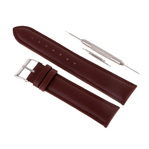 MagiDeal 20mm High Quality Geunine Leather Calf Leather Watch Strap Replacement Watch Band Wristwatch Band - coffee, 20mm