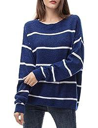 Woolen Bloom Jersey Punto Mujer Invierno Jersey Rayas Camiseta Manga Larga Sueter Basico Suelto Jerseys Camisa Tops Pull-Over Suéter Mujer Primavera Otoño
