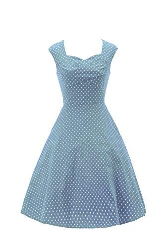 ILover 40s 50s 60s Retro vintage Rockabilly kleid Hepburn Stil Partykleid Cocktailkleid 50er Jahr Abendkleid lake blue XXL