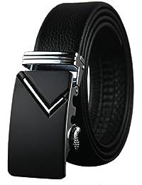 Boshiho - Cinturón de piel para hombre, piel auténtica, negro, trinquete, hebilla