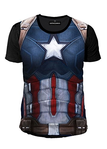 ain America Herren T-Shirt - Dark Suit (Multicolor) (S-XL) (S) (Galaxy Wars Kostüme)