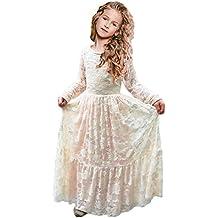 12b233f43 Vestidos de Flores para Bodas Vestido de Encaje de Flores para niñas Vestido  de Flor Blanca