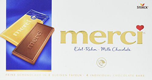 merci Tafelschokolade Edel-Rahm – die perfekte Selbstverwöhnung – 4 kleine, feine Täfelchen – 15er Pack (15 x 100g Packung)