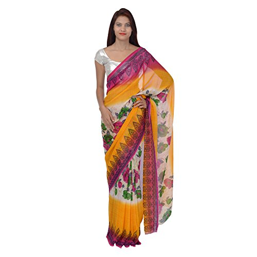 Saundarya Sarees Women Chiffon Printed Pink and Yellow Saree