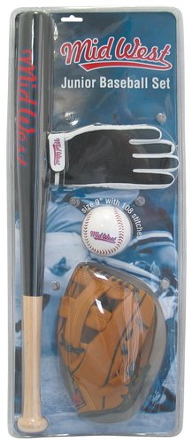Midwest Junior Baseball Set Batting Guanto cattura Mazza e Palla - Batting Guanto Set