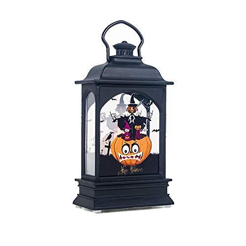 TIREOW Hängende Laterne Jahrgang Party Castle Halloween Kürbis Flamme Lampe Dekor Licht für Hof Wohnzimmer Kinderzimmer (A)