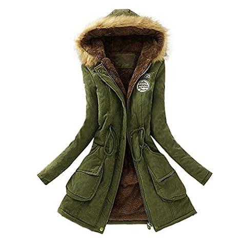 Damen Mantel,Sonnena Frauen Kapuzenpullove Warm Weich Winterjacke Trenchcoat Oversized Windbreaker Parka Outwear Cardigan Sweatshirt (Asian L2, Armeegrün)
