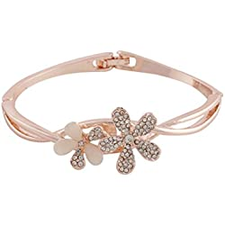 Valentine Gift: Sitashi Rose Gold Plated AD floral Design Bracelet Set For Girls & Women