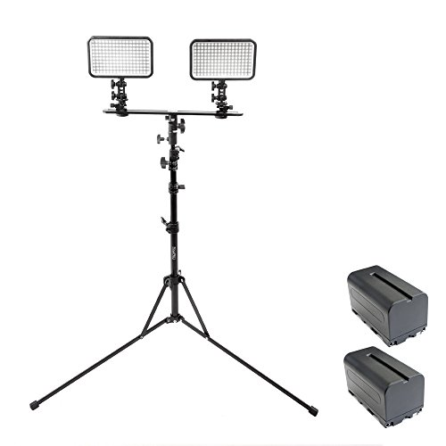 PIXAPRO® LED170 Dual Kit With Batteries and Stand Daylight Dimmable On Camera LED Lighting Video Interview YouTube VLOG *2 Year UK Warranty *Fast Delivery *UK Stock *VAT Registered … (Dual Kit, With Batteries and Stand)