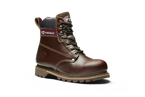 V12 Boulder, Rich Mahogany Hide Safety Boot, 11 UK 46 EU, Mahogany (Safety Eyelet Boot)