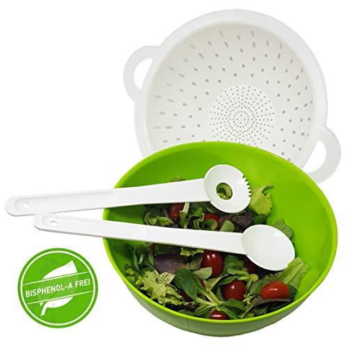 greenline Salat- und Pasta-Schüssel/Seiher Combo Bio-Kunststoff Vegan aus Zuckerrohr Salatschüssel mit Abtropfsieb und Salatbesteck grün Weiss