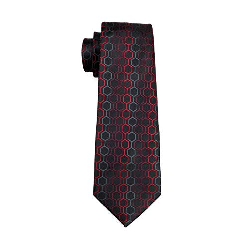 KYDCB Herren Seidenkrawatte Rot Geometrische Krawatte 100% Seide Jacquard Krawatten Für Herren Business Hochzeit -