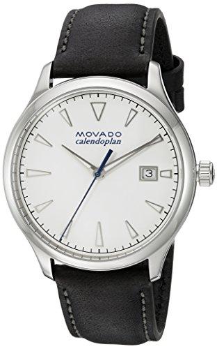 Movado Suisse à quartz pour homme en acier inoxydable et cuir décontractée montre, couleur: noir (modèle: 3650002)