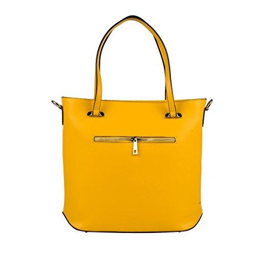 ISOTTA Borsa a spalla Tote Shopper con inseri decorativi e tracolla regolabile pelle liscia giallo