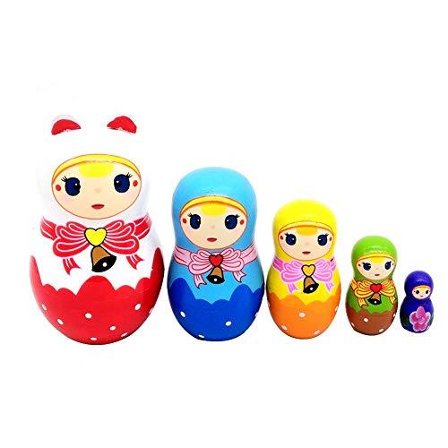 NICEWL Fünfschichtige Russische Stapelpuppe - Matroschka Cutie Puppe Muster Kind Handgemachte Hölzerne Nesting Spielzeug Handwerk Geschenk, Weihnachten Hauptdekoration