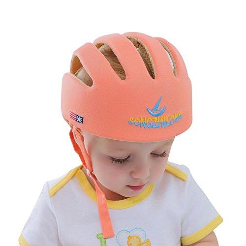 stellbar Stoßfest Baby Helmet Schutzhelm Babyhelm Helmmütze Kopfschutzmütze beim Lauflernen für Kids Rad fahren Wandern Krabbeln Orange ()