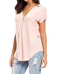 94390fa8f9cb QinMM Camiseta Blusa Suelto con Cremallera de Túnica de Mujer, Tops de  Manga Corta Sudadera
