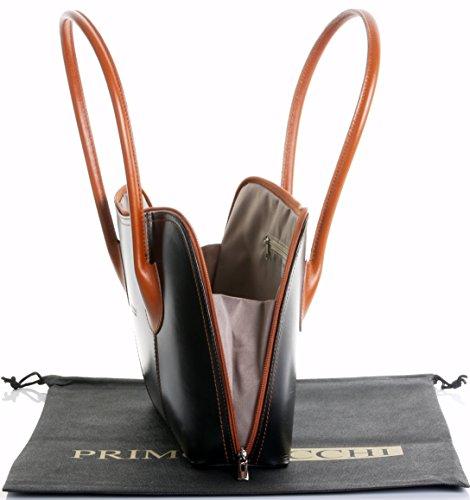 Cuoio lucido liscio italiano classico stile borsetta Tote Grab Bag o borsa a tracolla.Include una custodia protettiva marca Black & Tan