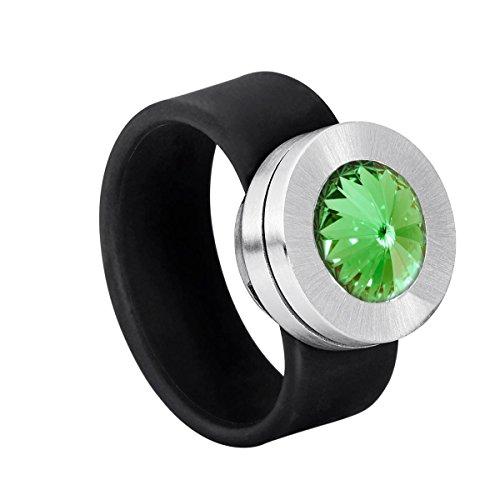 Heideman Damen-Ring Colori Ring mit Wechselstein wechselbar glanzmatt Gr.51 Swarovski kristalle grün 10mm Ringe mit Stein Zirkonia Edelstein Edelstahl Größe 51 (16.2) hr-sch-214-51 (Grüne Edelstein-ring)