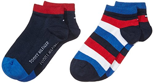 Tommy Hilfiger Unisex Kinder TH KIDS BASIC STRIPE QUARTER 2P Socken, 2er pack, Blau (midnight blue 563), 35-38 (Für Tommy Mädchen Hilfiger Socken)