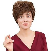 HSHU Parrucca da Donna Corto Riccia Parrucche di Capelli Veri Adatto per La  Vita di Tutti 5e43dee30644