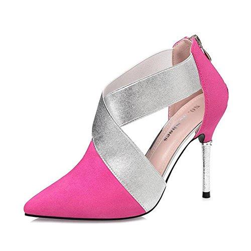 L@YC Donna Tacchi alti aguzza Nightclub Suede Fine Con 10cm Dopo La Cerniera Scarpe Pink