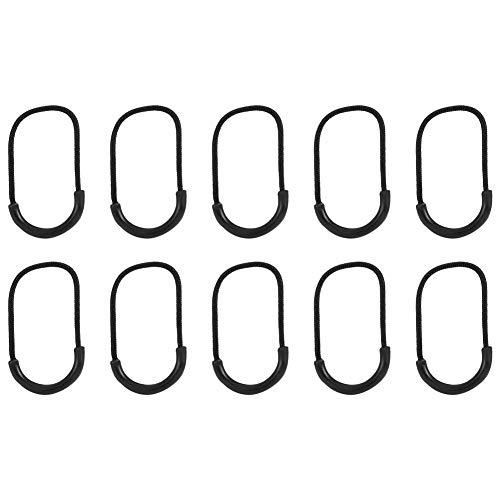 Mootea Cerniera Tiragraffi Slider Cerniera Pull Fits 10pcs Plastica Nera edc Sorriso-Style Cerniera Tirate Cord Corda per Abbigliamento Accessori Borsa