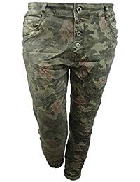 lexxury NOVIO Holgado Mujer Stretch Pantalones Vaqueros Abierta Tira de botones Front Cremallera camuflaje