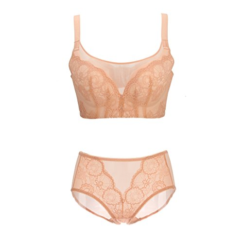 Bonjanvye Padded Lace Bra with See Through Panty Underwear Set Orange (Exofficio Bikini Brief)