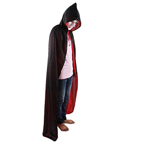 Capa Larga con Capucha para Adultos Ninos Disfraz de Vampiro Cosplay Diablo Traje Medieval Rojo interior
