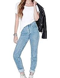 Femme Rétro Pantalon Jeans Amples Boyfriend Casual Jeans