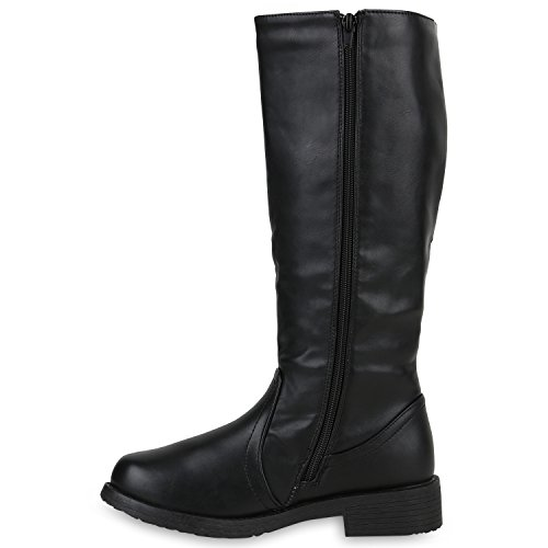 Klassische Stiefel Damen Schnallen Profil Sohle Lederoptik Schwarz
