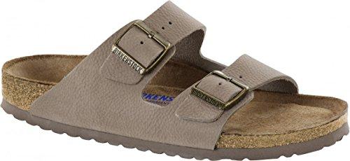 Nubuk-leder-comfort-clogs (Birkenstock Pantolette Arizona Nubukleder steer taupe Gr. 35 - 46 - 1008928, Größe + Weite:44 schmal)