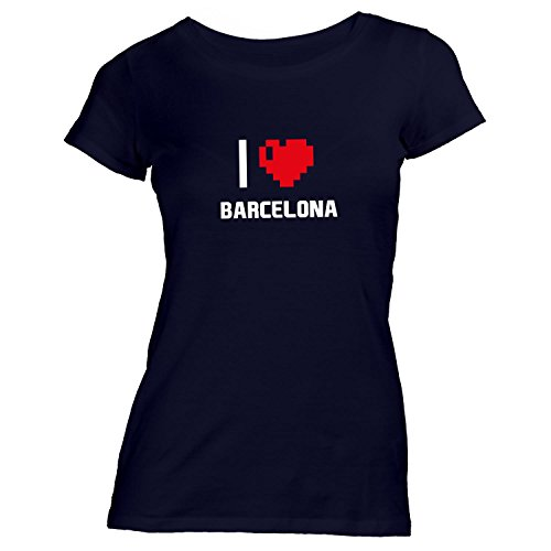 Preisvergleich Produktbild Damen T-Shirt - I Love Barcelona - Spanien Reisen Herz Heart Pixel, Schwarz, S