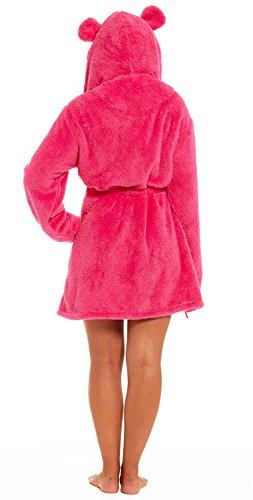 Accappatoio o vestaglia da donna, con cappuccio felpato, in tessuto a nido d'ape, lunghezza alla coscia Coral