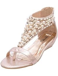 Minetom Mujer Verano Nuevo Bohemia Sandalias Diamante De Imitación Chanclas Con Cuentas Cuña Zapatos Clip Toe Zapatillas