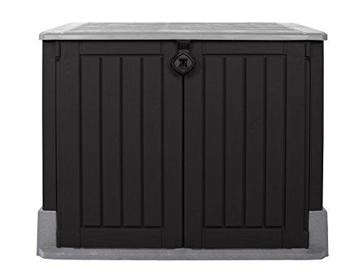 Keter Woodland 30 Mülltonnenbox anthrazit Gartenbox Midi Gerätebox abschließbar für 2 Mülltonnen