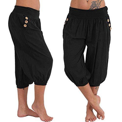 Kneris Damen Hosen Sommer Haremshose Yogahose Aladinhose Baggy Capri Harem Stil mit Elastischen Bund - Stil Schwarze Kurze