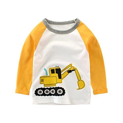 Malloom® Kleinkind Kinder Bagger Jungen Langarm Patchwork Shirt Tops Outfits Kleidung (gelb, 110) (Dinosaurier-jungen-t-shirt)