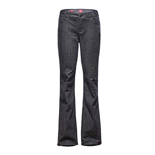 Mena Damen Lässig locker Lange Hosen, Groß Mikro-Bell-Boden Quasten Ausgestellte Jeans M-5XL (Farbe : Grau, größe : XXXXL/46/20) (Flared Jeans Cut Hose)