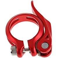 Abrazadera de Sillín Asiento Perno de Sujeción Rápida para Bicicleta Bici Rojo 34.9mm